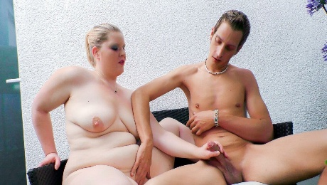 German BBW gets her chubby pussy fucked hard and her mouth creamed